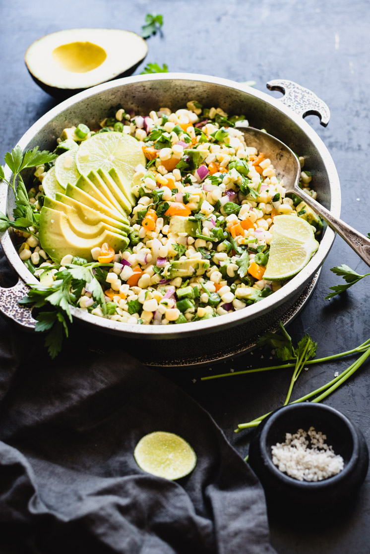 Avocado, Raw Wagon Summer Salad With Fresh Corn and Tomatoes