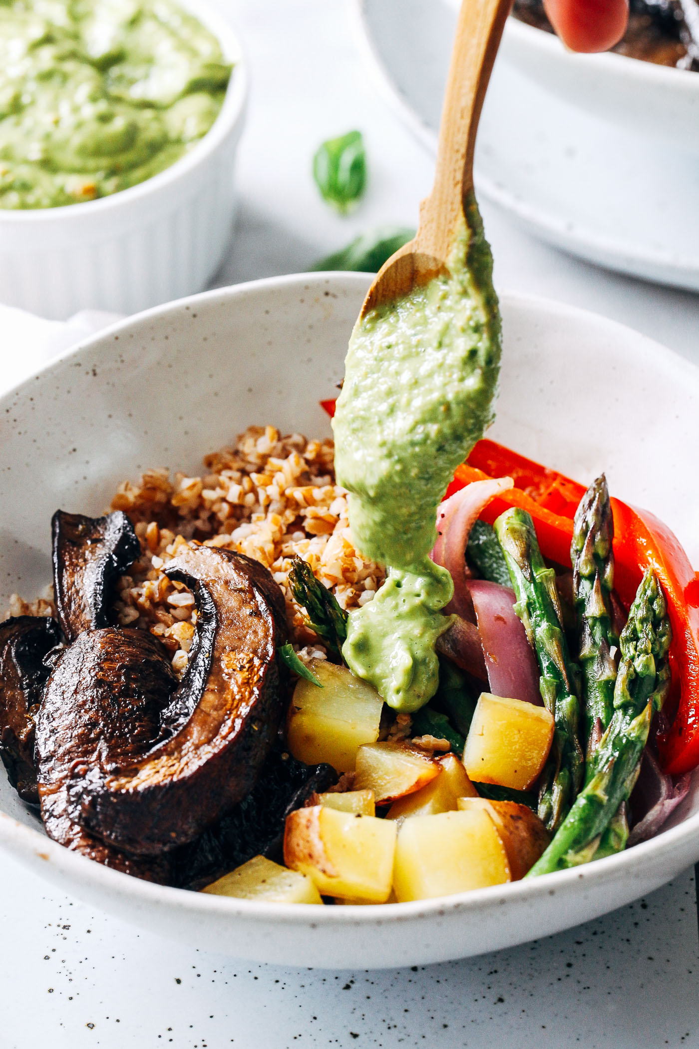 Grilled Portobello mushrooms, vegetables (buttered) and avocado
