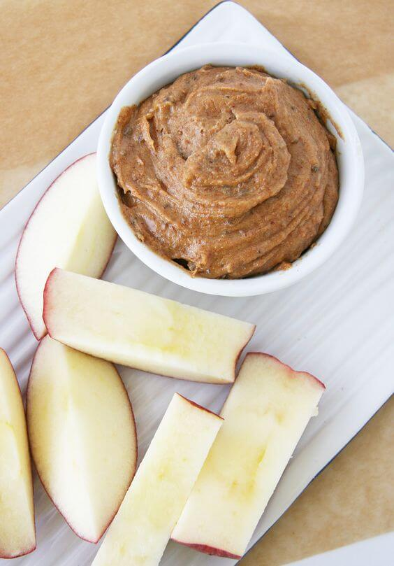 Peanut butter with an apple