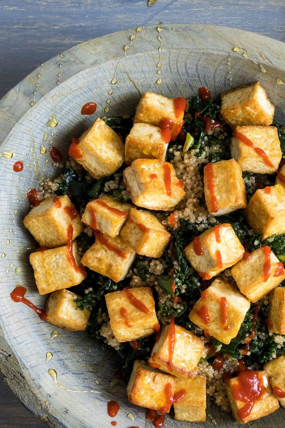 tofu and kale salad